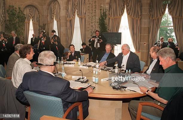 G8 world leaders including German Chancellor Helmut Kohl French President Jacques Chirac US President Bill Clinton Russian President Boris Yeltsin...
