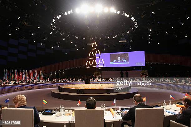 World leaders ministers and heads of international organisations attend the opening session of the Nuclear Security Summit in The Hague on March 24...