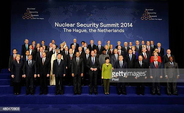 World leaders pose for a family photo following the closing session of the 2014 Nuclear Security Summit on March 25, 2014 in The Hague, Netherlands....