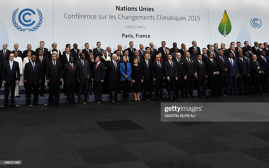 World leaders pose for a family picture during the COP21, United Nations Climate Change Conference, in Le Bourget, outside Paris, on November 30, 2015.