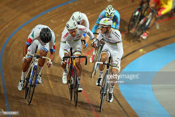 World Madison Champions Vivien Brisse and Morgan Kneisky of France in action in the Men's Madison during day three of the 2013 European Elite Track...