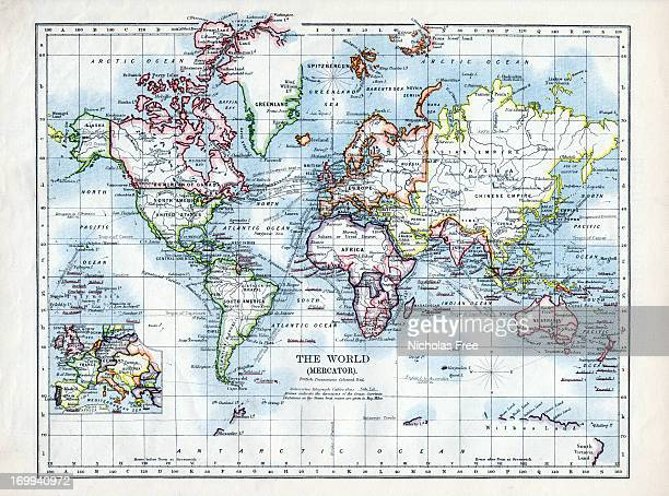 world map 1895 - world map stock photos and pictures