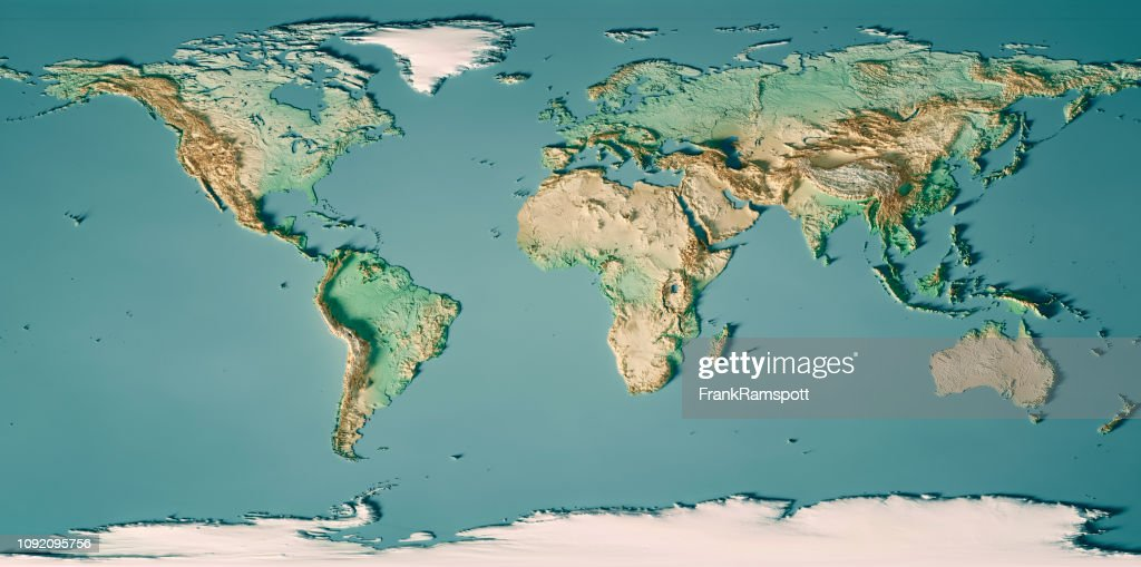 World Map 3D Render Topographic Map Color : Stock Photo