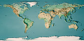 World Map 3D Render Topographic Map Color