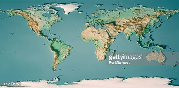 world map 3d render topographic map color - cartography stock photos and pictures