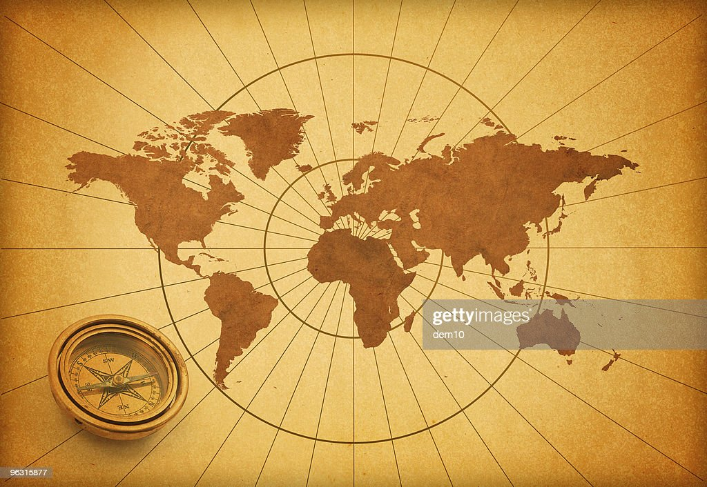 World Map And Compass Stock Photo Getty Images