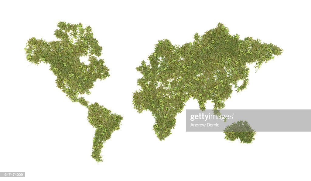 World map composite grass and clover : Stock Photo