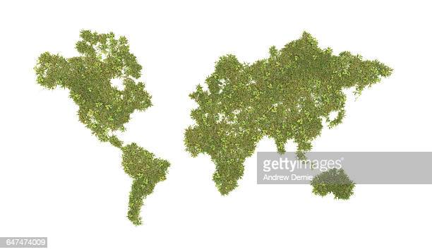 World map composite grass and clover
