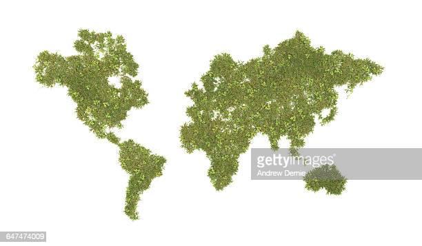 World map composite grass and clover