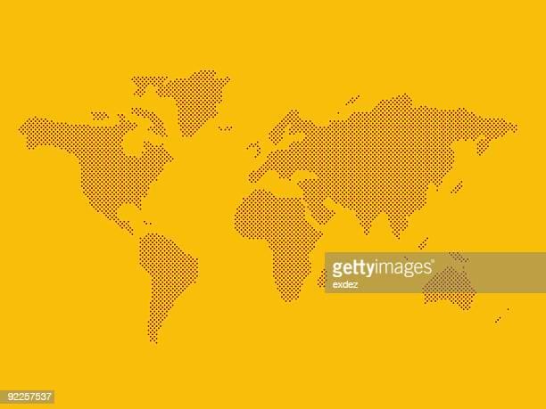 World map. Die mit Punkten
