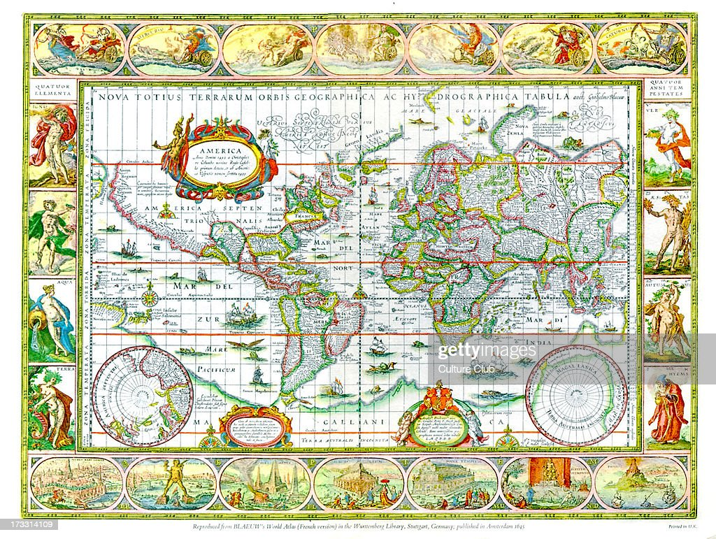 World map from blaeu s world atlas pictures getty images world map from blaeu s world atlas french version published amsterdam gumiabroncs Gallery