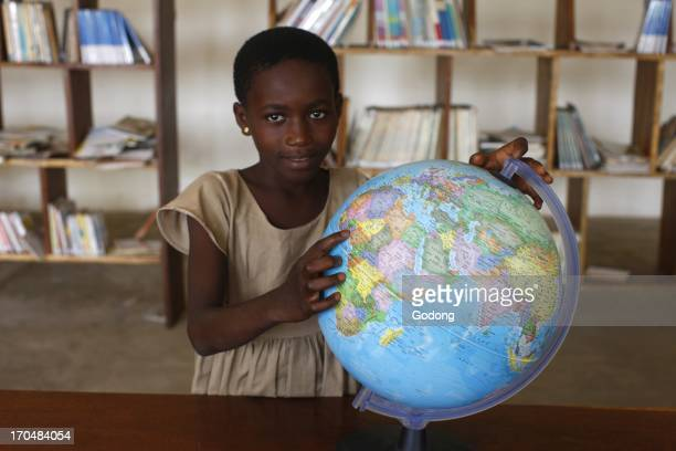 World map in an African school