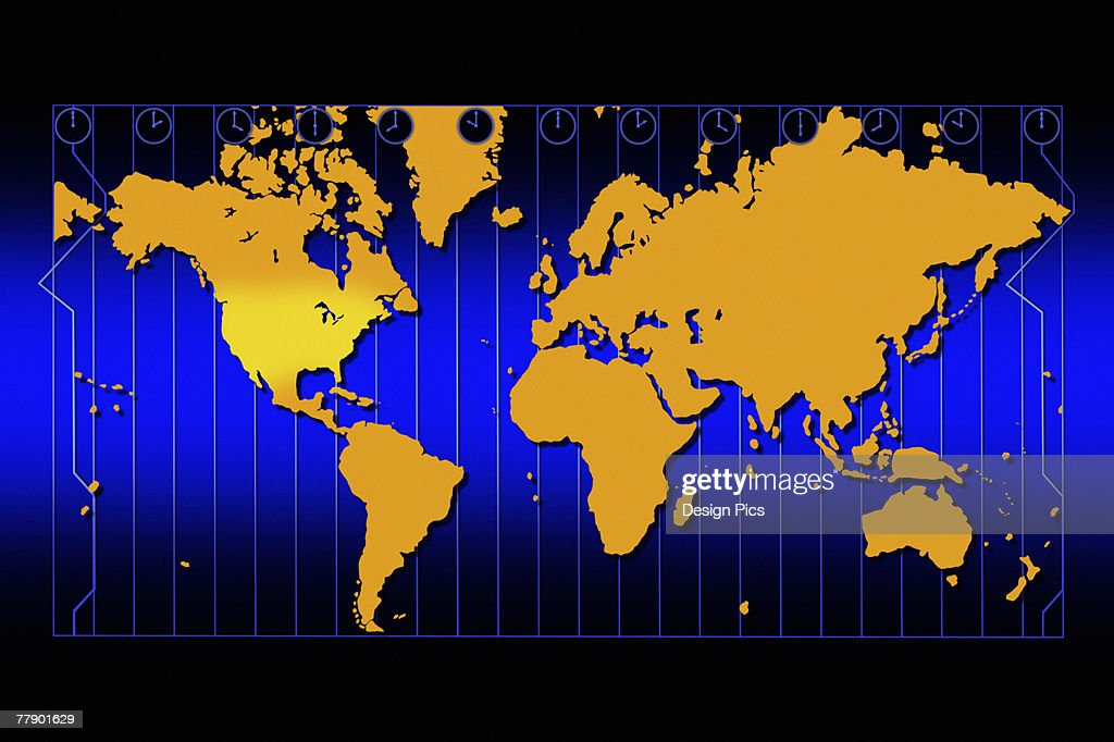 World Map In Gold With Time Zones And Blue Background Stock ...