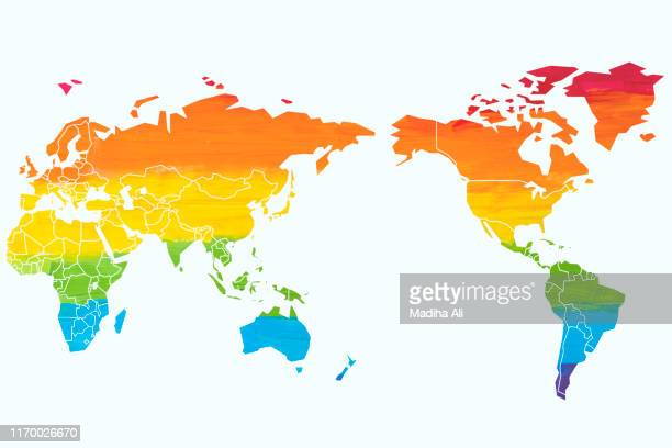 a world map in rainbow colors depicting lgbt (lesbians, gay, bisexual and trans-sexual) pride parade community. - bisexuality stock pictures, royalty-free photos & images