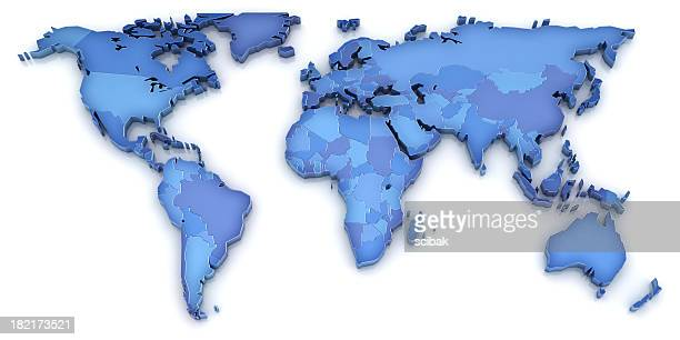 A 3D world map in shades of blue on a white background