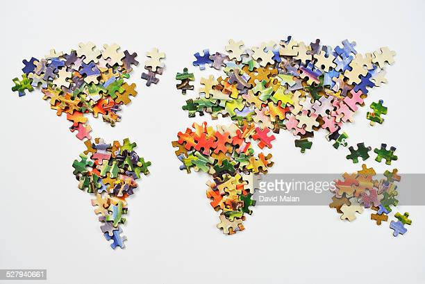 World map made from puzzle pieces