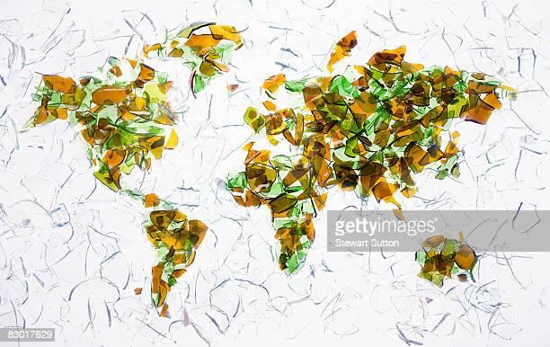 world map made of broken glass