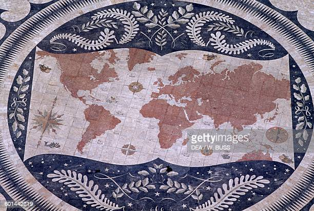 World Map mosaic by Luis Cristino da Silva in the center of the compass rose at the foot of the Monument to the Discoveries on the bank of the Tagus...