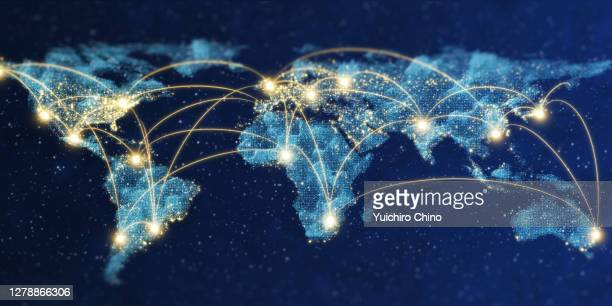 world map of network communication - globale kommunikation stock-fotos und bilder