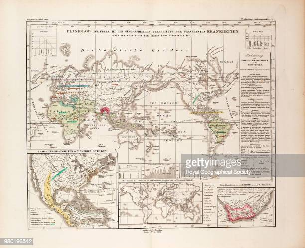 World map of the geographical distribution of disease Plate '7te Abteilung Anthropographie No 1' from 'Dr Heinrich Berghaus' Physikalischer Atlas' a...
