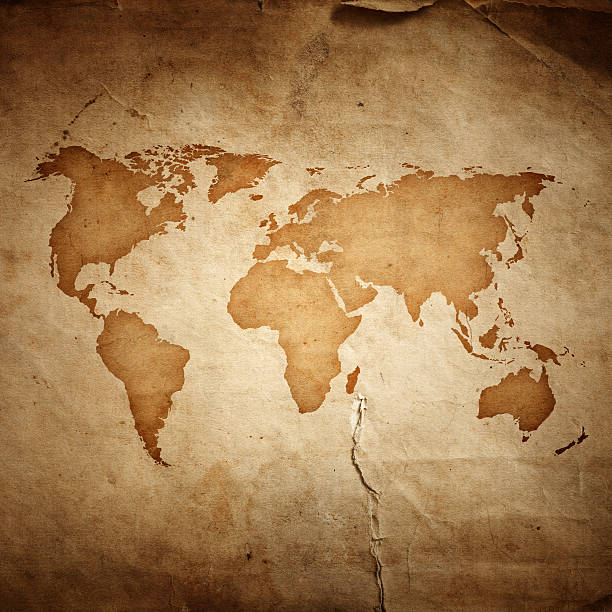 World Map On Aged Paper Texture Background Wall Art