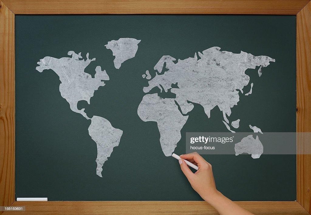 World map on blackboard : Bildbanksbilder