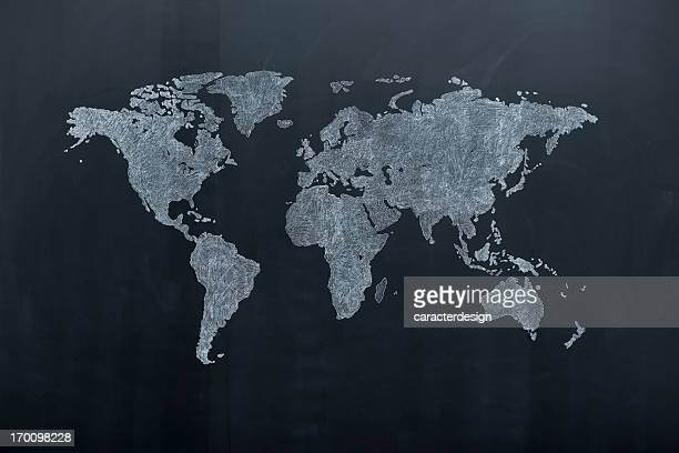 world map on blackboard - world map stock photos and pictures