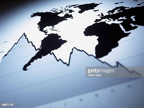 World map on descending line graph