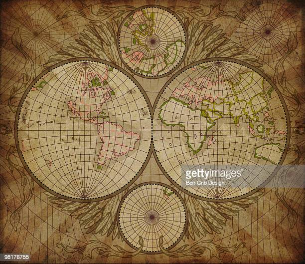world map - vintage world map stock photos and pictures