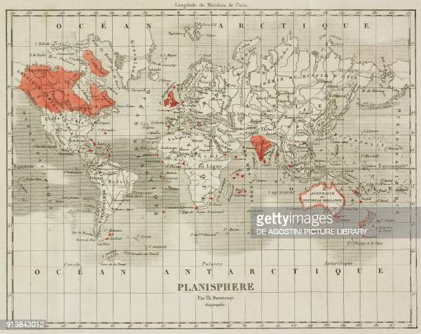 World map showing English possessions engraving by Lemaitre from Angleterre volume II by Leon Galibert and Clement Pelle L'Univers pittoresque...