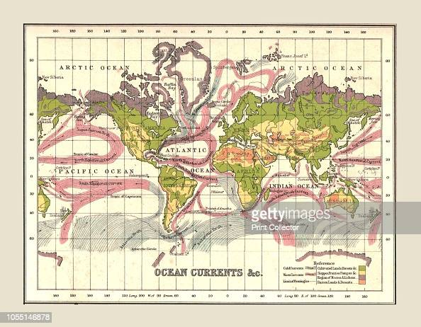 World Map showing Ocean Currents, 1902. From The Century ...