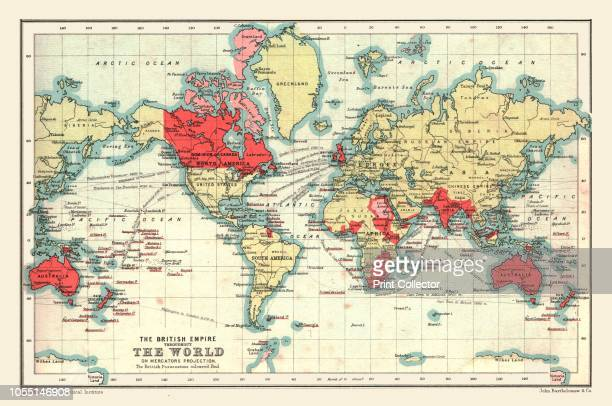 World Map showing the British Empire, 1902. British possessions coloured red. From The Century Atlas of the World. [John Walker & Co, Ltd., London,...
