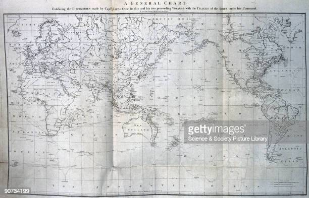 World map showing the three Pacific voyages of Captain James Cook the famed navigator and hydrographer who transformed the West�s knowledge of the...