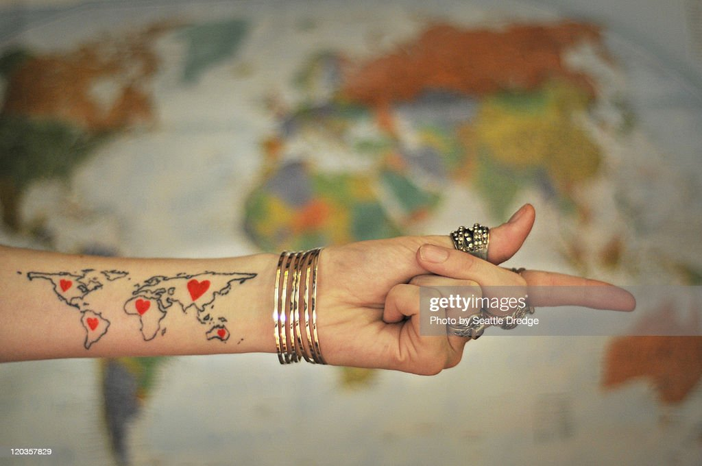 World map tattoo stock photo getty images world map tattoo stock photo gumiabroncs Image collections