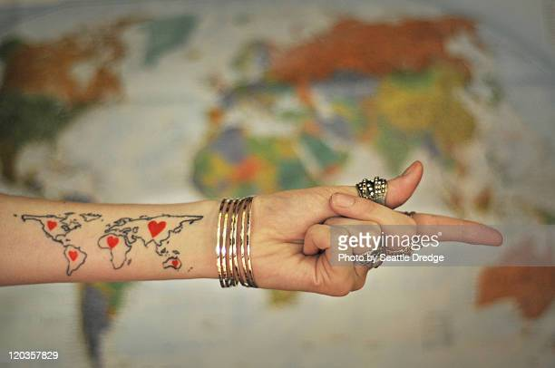 world map tattoo - tattoo designs hearts stock pictures, royalty-free photos & images