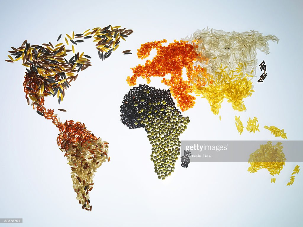 World Map with Grains and cereals : Foto de stock