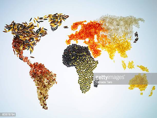 World Map with Grains and cereals