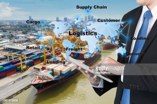 world map with logistic network distribution, logistic and transport concept in front industrial container cargo freight ship for concept of fast or instant shipping, online goods orders worldwide - link chain part stock photos and pictures