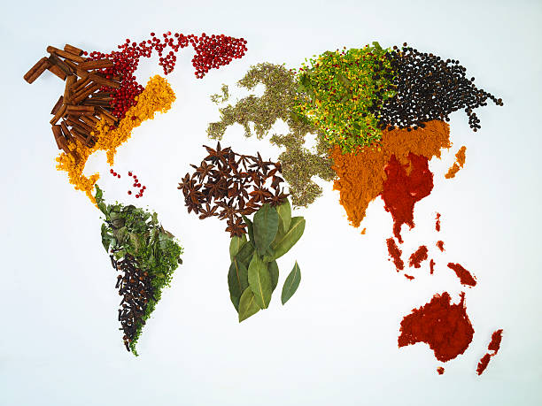 World Map With Spices And Herbs Wall Art