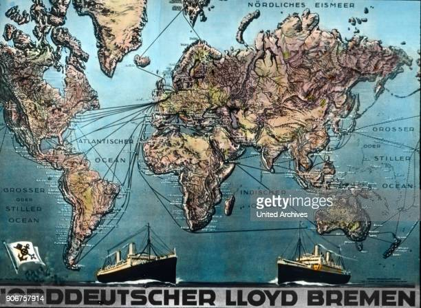 World map with the lines of Norddeutscher Lloyd from Bremen Germany 1920s