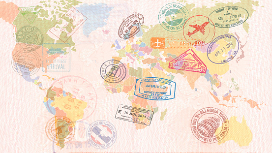 World map with Visas, Stamps, Seals. Travel concept 1071294112