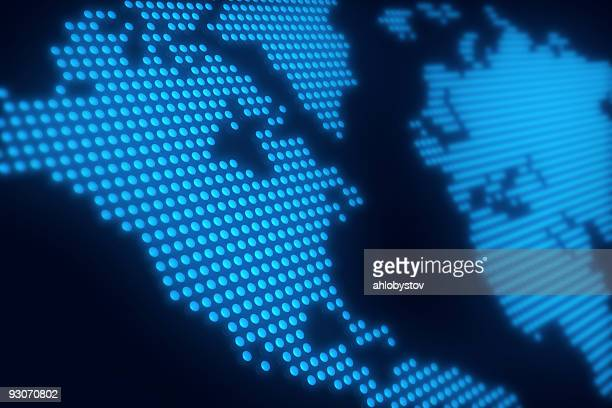 world maps made of tiny blue led lights - north america stock pictures, royalty-free photos & images