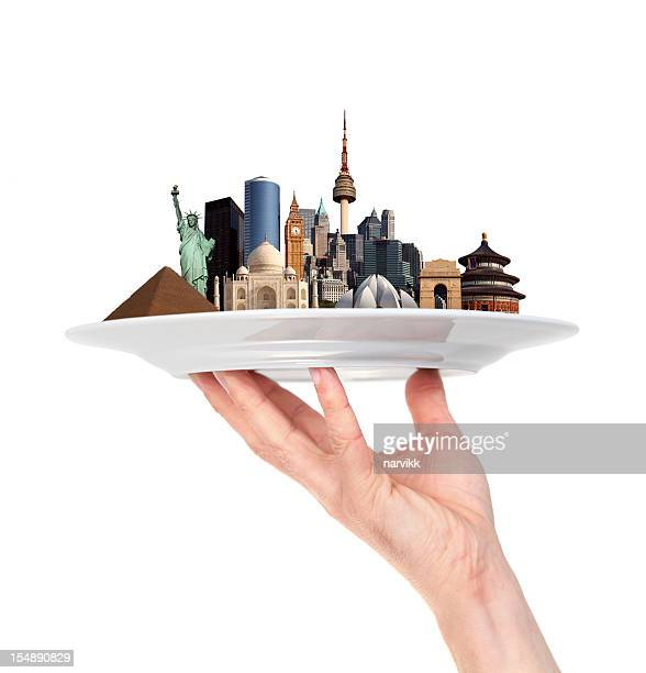 world monuments in one hand - global village stock pictures, royalty-free photos & images