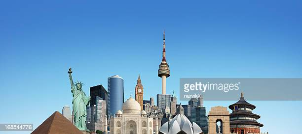 world monuments - global village stock pictures, royalty-free photos & images