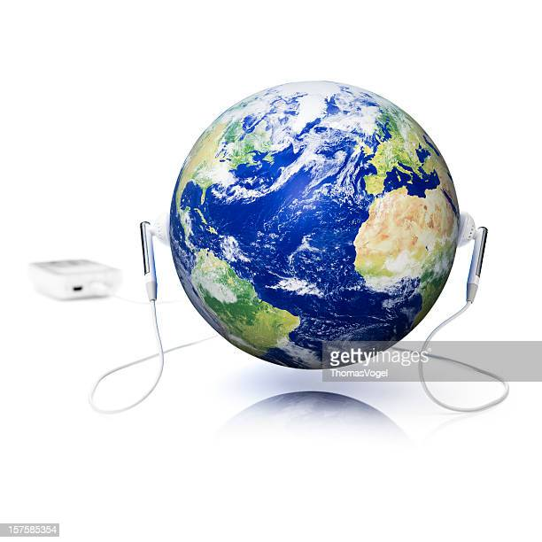 World music. Headphones Earbuds Entertainment Media Listening Earth globe sound