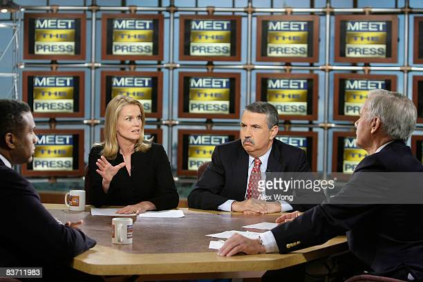 BBC World News America Washington Correspondent Katty Kay speaks as The Tavis Smiley Show host Tavis Smiley New York Times columnist Tom Friedman and...