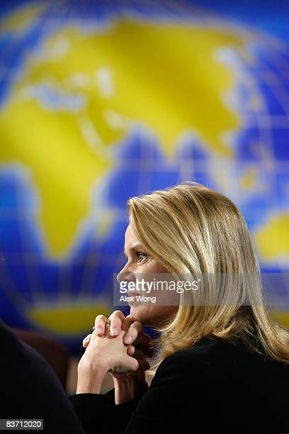 BBC World News America Washington Correspondent Katty Kay speaks during a taping of Meet the Press at the NBC studios November 16 2008 in Washington...