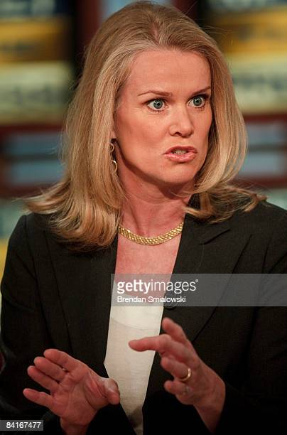 BBC World News America's Washington Correspondent Katty Kay speaks to host David Gregory during a live taping of Meet the Press at the NBC studios on...
