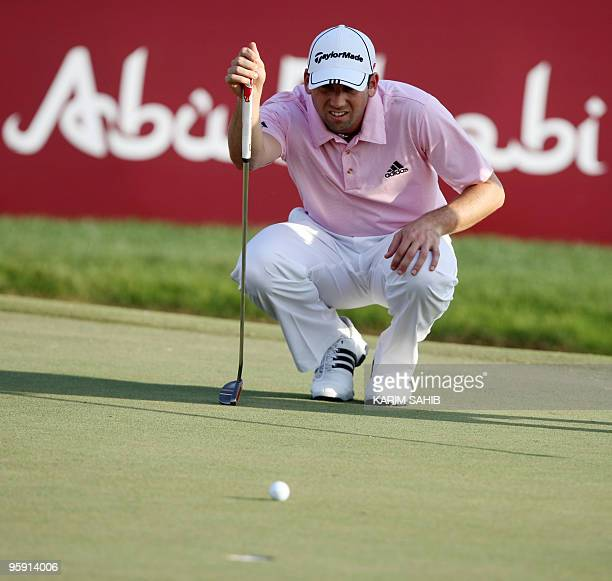 World Number 2 Golfer Sergio Garcia of Spain competes in the first round of the Abu Dhabi Golf Championship in the Emirati capital on January 21 2010...