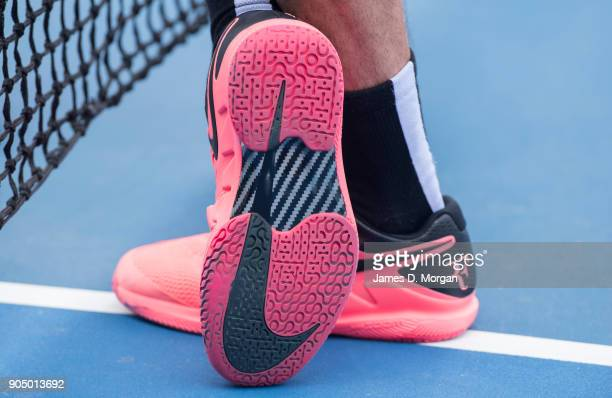 World number 2 Roger Federer's trainers on the practice court on day one of the 2018 Australian Open at Melbourne Park on January 15 2018 in...